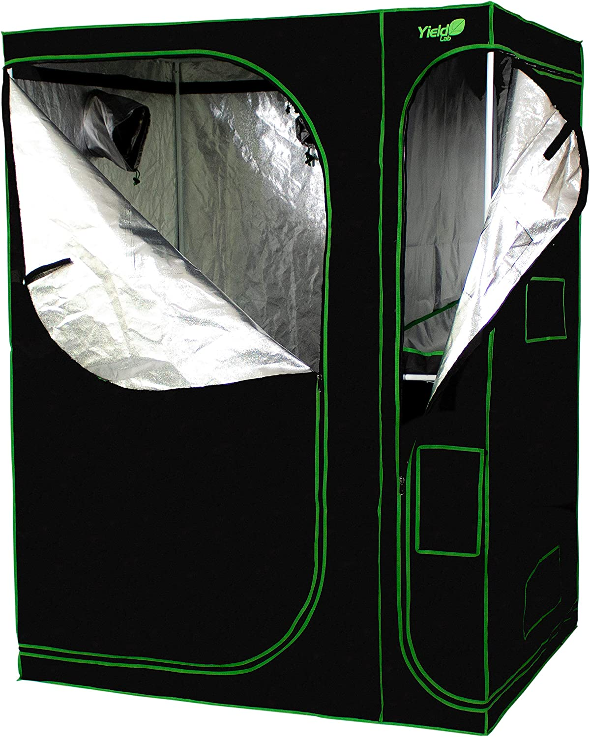 Yield Lab 60 x 48 x 80 2-in-1 Full Cycle Reflective Plant Grow Tent with Viewing Windows and Flood Trays Hydroponic Horticulture Growing Tent for Herbs, Spices, Fruits and Vegetables