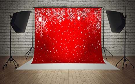7x5ft Microfiber Red Theme Snowflakes White Dots Christmas Party Decorations Photo Booth Background Seamless Collapsible Washable