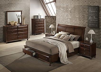 Roundhill Furniture Concord Wood Bedroom Set With Platform Bed, Dresser,  Mirror, 2 Night