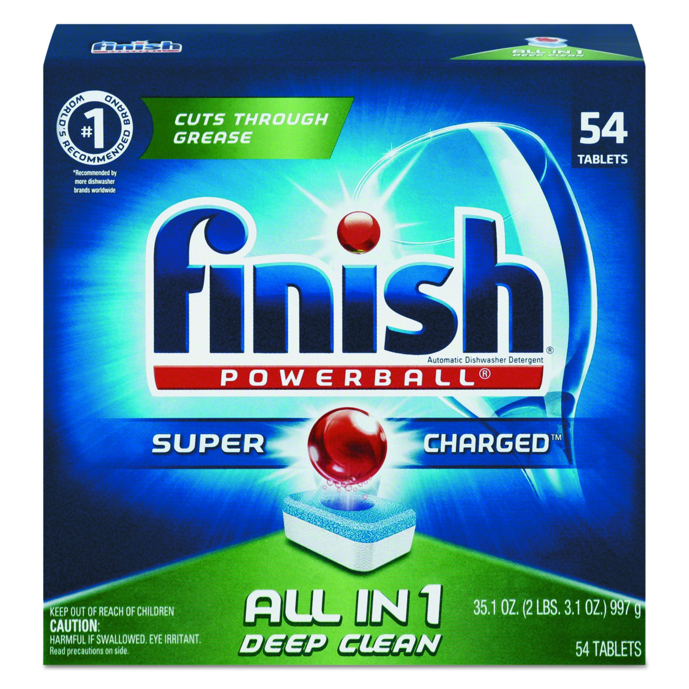 FINISH 81158BX Powerball Dishwasher Tabs, Fresh Scent, Box of 54 Tabs by Finish
