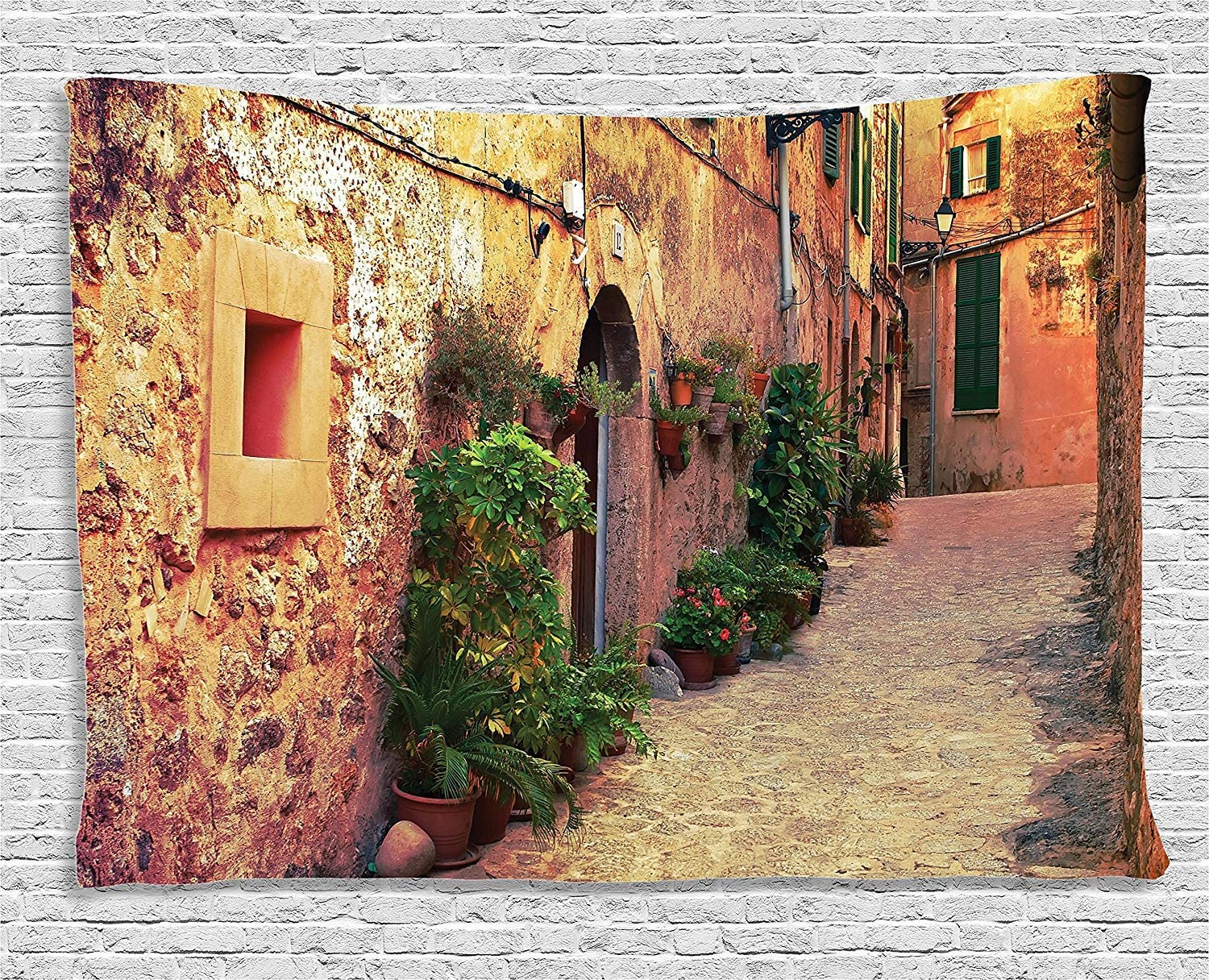 Ambesonne Wanderlust Decor Collection, Ancient Street In Valldemossa Village, Mallorca, Spain Vintage Door Road Tourism, Bedroom Living Room Dorm Wall Hanging Tapestry, 80W X 60L Inch