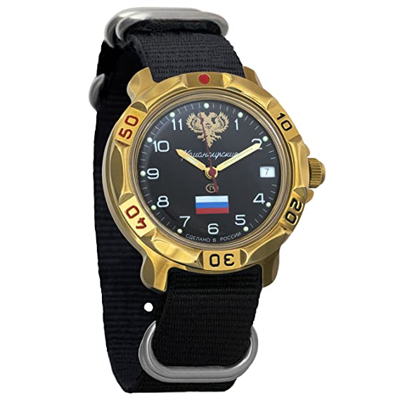 Vostok Komandirskie - Reloj de pulsera para hombre, diseño de bandera rusa y emblema mecánico