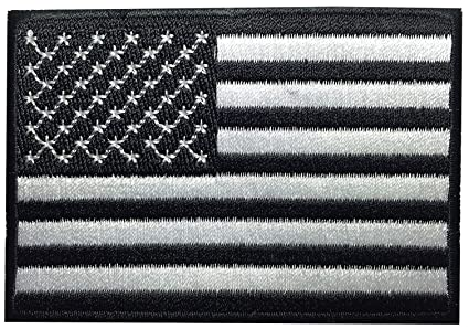 Amazon.com: american flag patch black & white applique embroidered