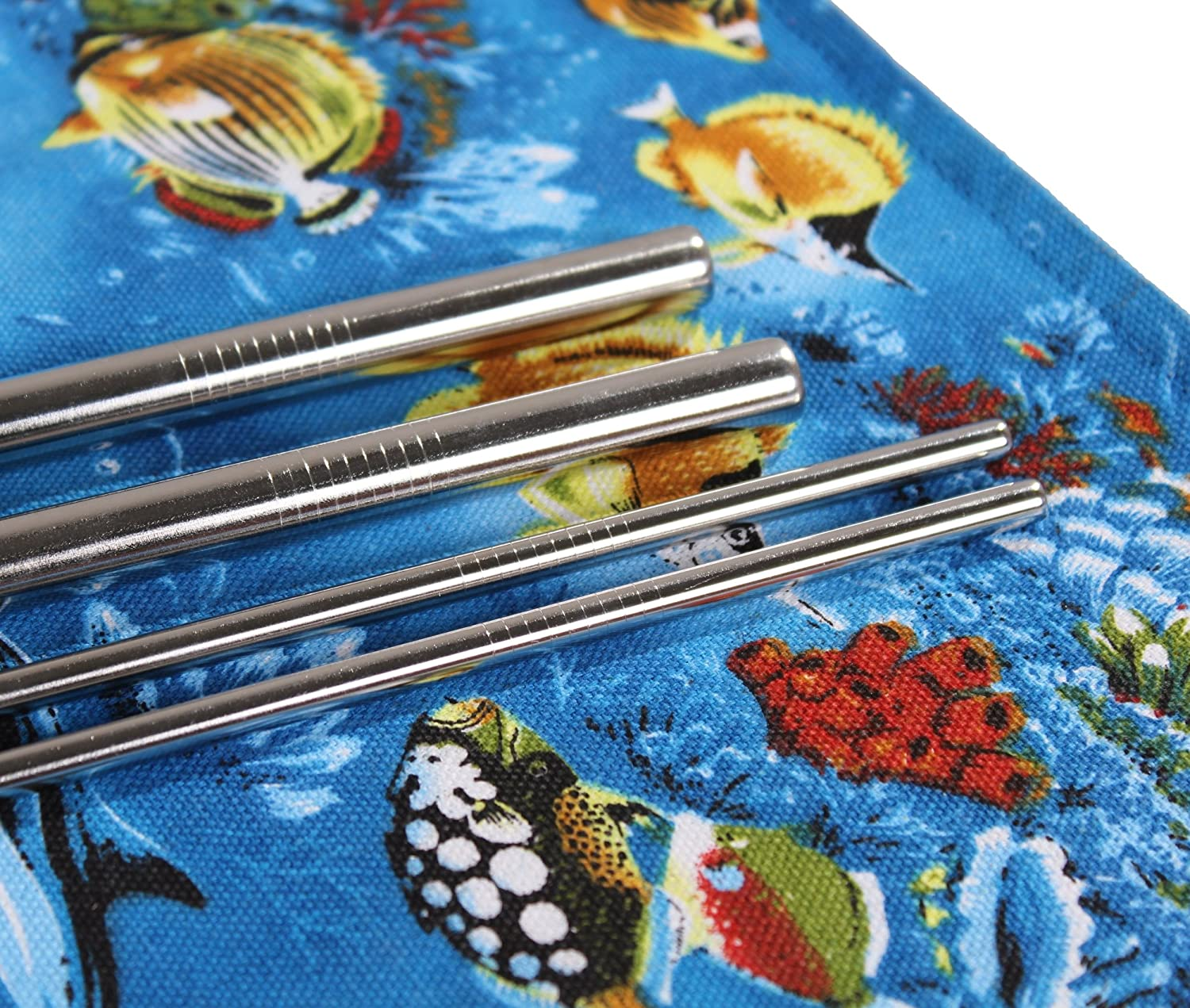 Zero Waste 2 Cleaning Brushes Blue Ocean 2 Cotton Pads Reusable Eco Friendly Stainless Steel Metal Drinking Straws Set of 4 Handmade Wrap Travel Case Yetis /& Ozark Tumblers