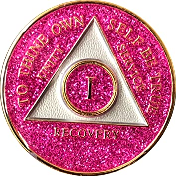 AA Purple Glitter 28 Year Coin Tri-Plate Alcoholics Anonymous Medallion Display