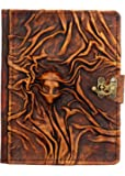 A Little Present Embossed Scarfed Woman Mini Vintage Leather Hardcover Wallet Pouch Case Cover with Lock for Kindle/Kobo Glo/Touch/Aura/Sony/PRS - Brown
