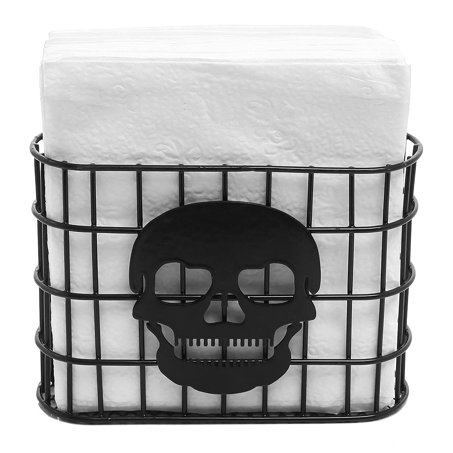 MyGift Skull Design Tabletop Napkin Holder, Metal Wire Paper Towel Dispenser, Black