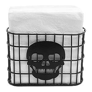 MyGift Skull Design Tabletop Napkin Holder, Metal Wire Paper Towel Dispenser, Black