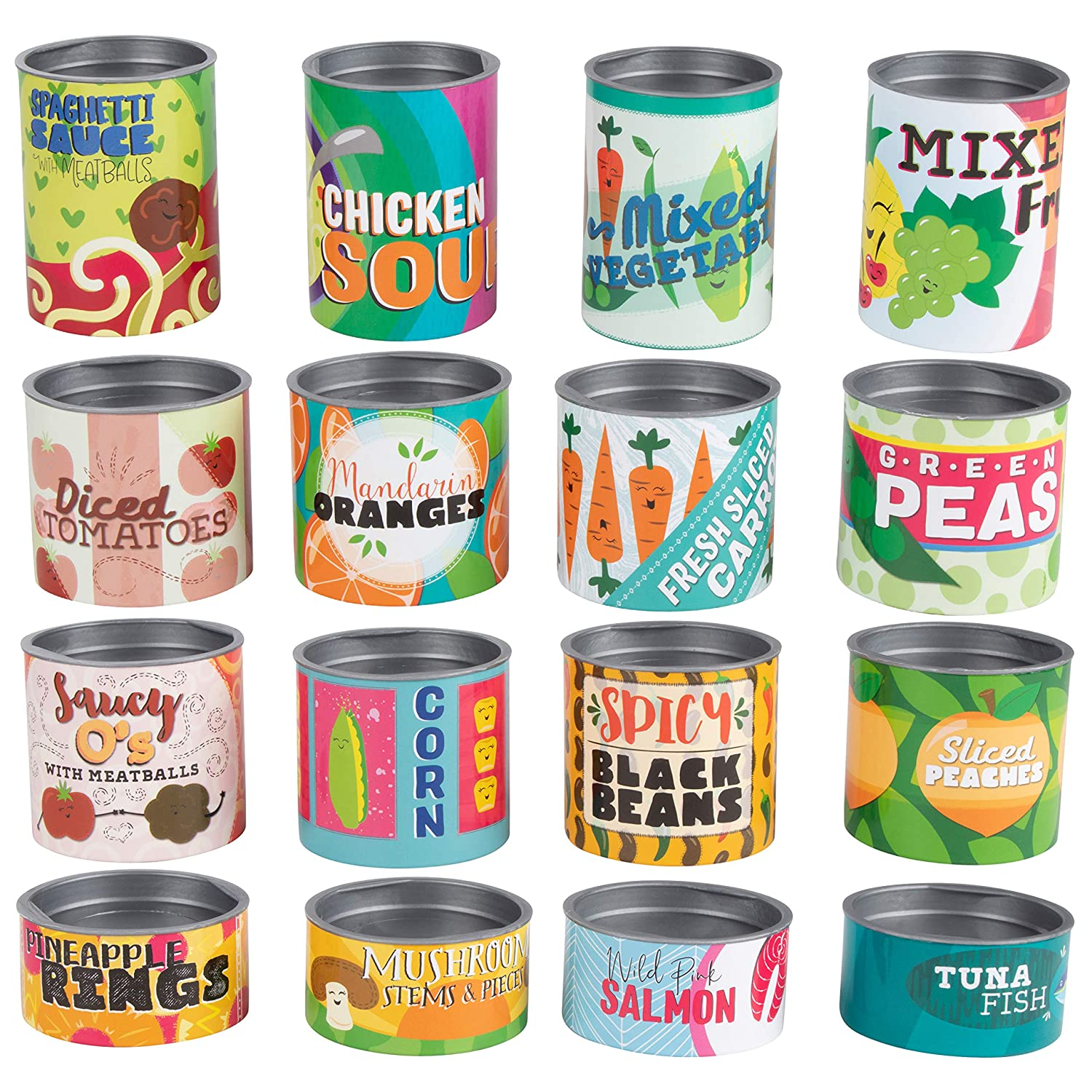 Cans Toys Grocery Store Play Set - 16-Piece Stackable Cardboard Cans with Removable Lids, Kids Pretend Play Food Canned Goods, Playhouse Kitchen Accessories for Boys and Girls, 16 Assorted Designs