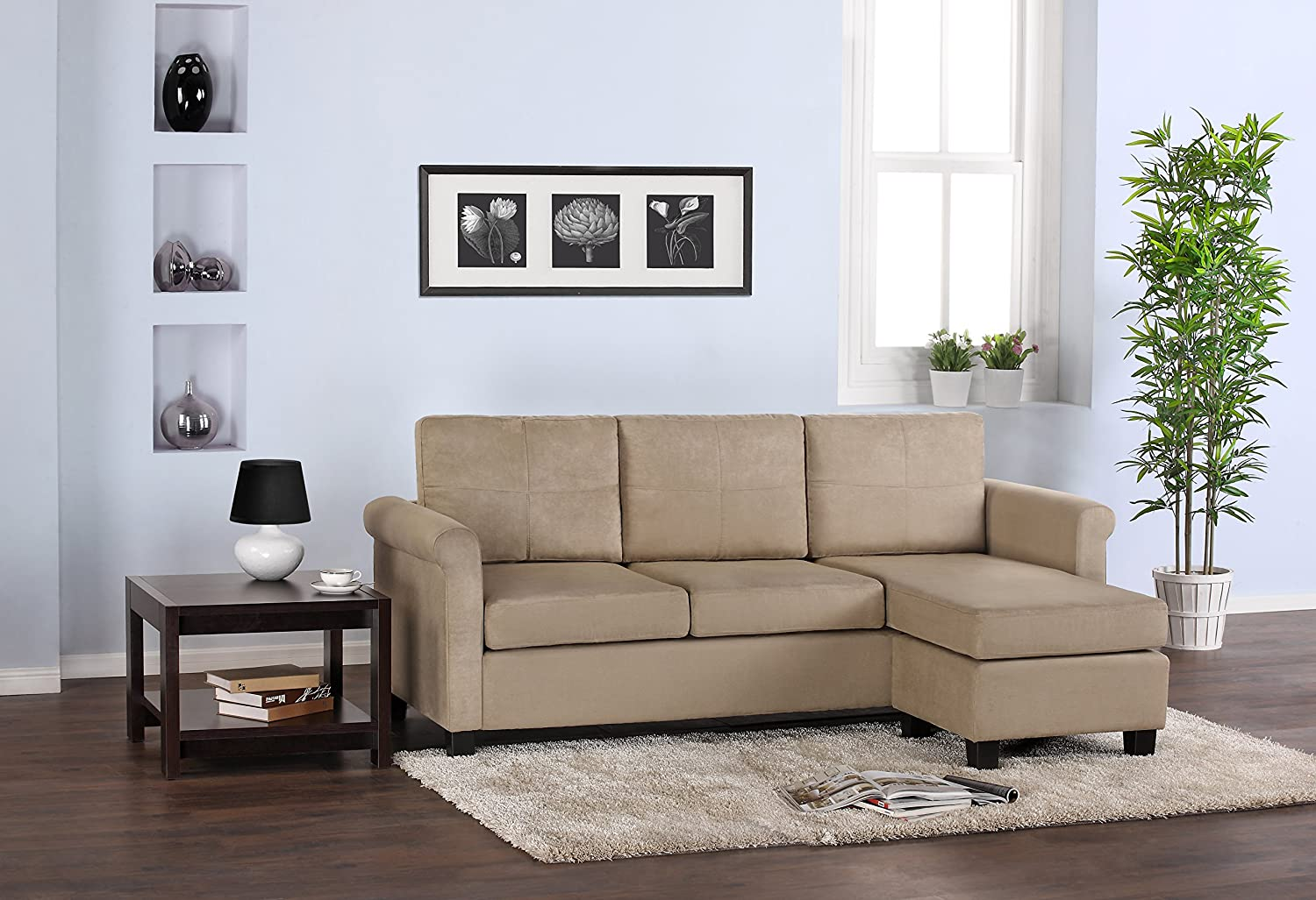 amazoncom dorel asia versatile small spaces sectional sofa taupe kitchen u0026 dining