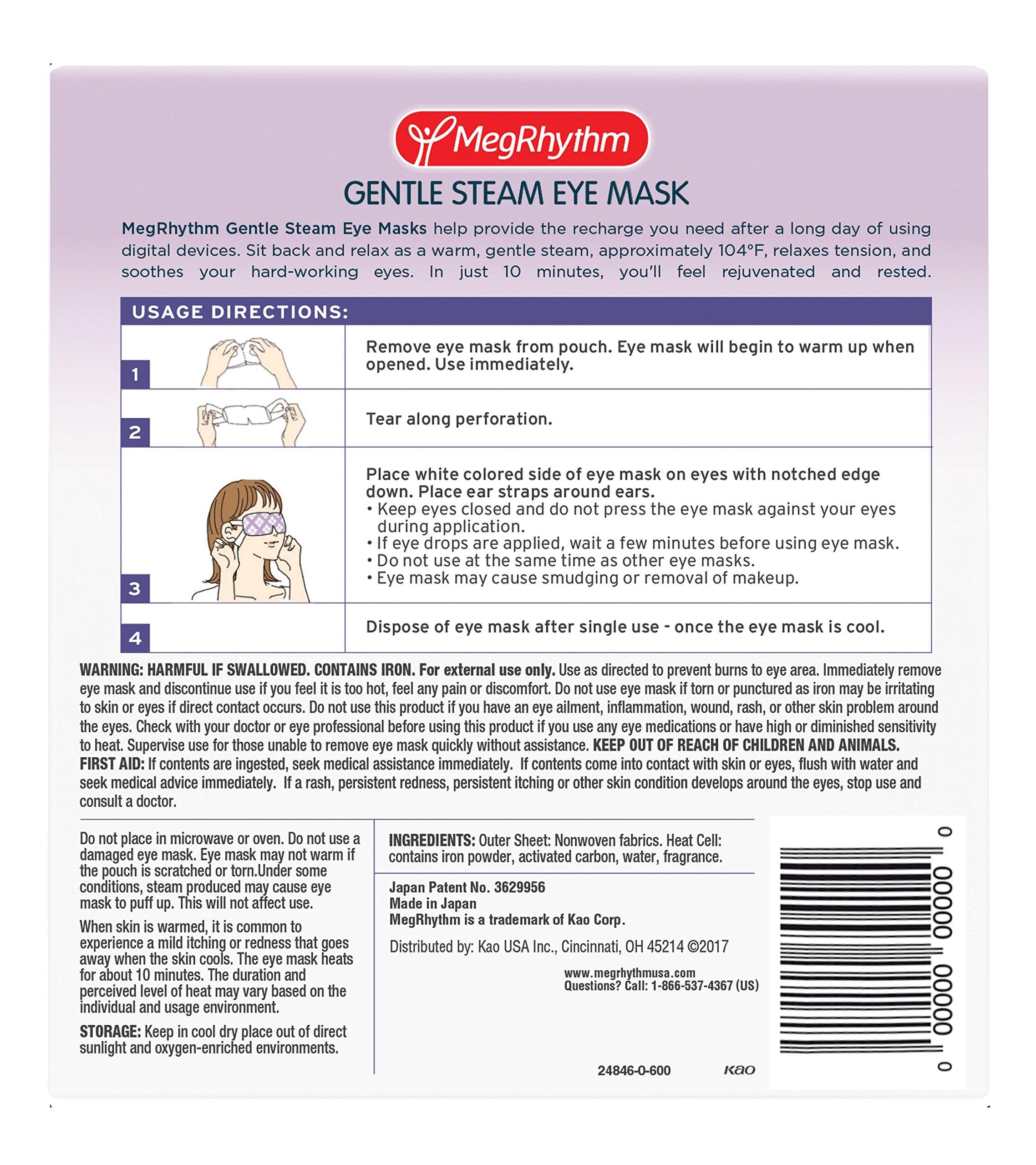 MegRhythm Gentle Steam Eye Mask, Lavender, 7 Count by MegRhythm (Image #2)