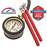 Analog Tire Pressure Gauge [ With 2 BONUS Pencil Gauges ] Multi-Pack By Precision Air [ Glow in the Dark - Tire Air Pressure ] - Dial Indicator Hose Gauge with integrated bleeder valve - High Accuracy Calibration
