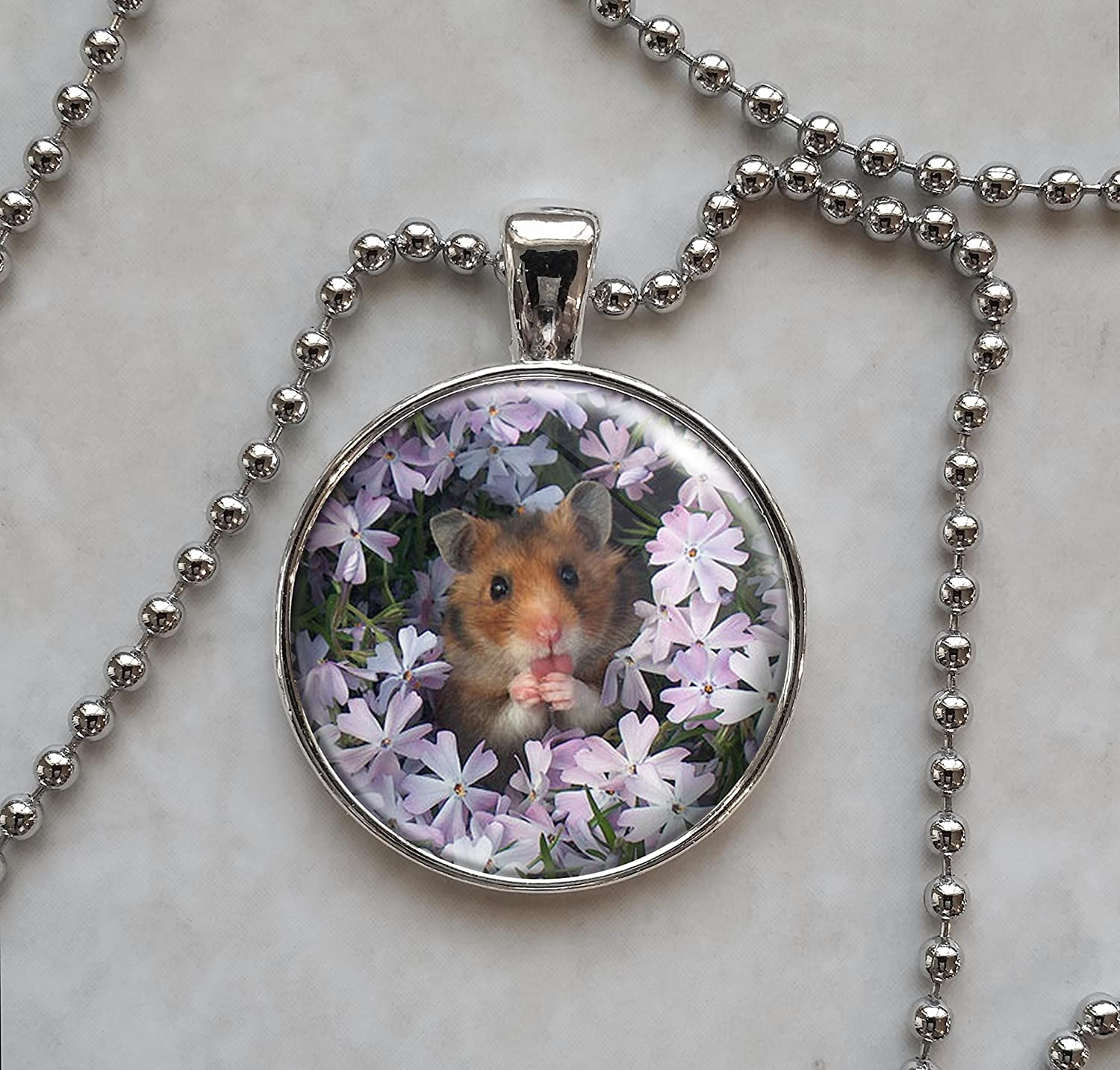 Hamster Sitting in Flowers .925 Sterling Silver Charm