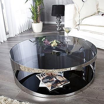 Moderner Couchtisch PROMETHEUS 90cm aus Opalglas Edelstahl rund ...