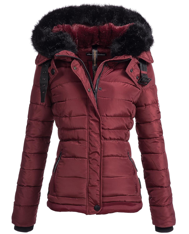 Winterjacke | Wintermantel | Stepp-Jacke für Damen von Navahoo - eleganter Kurz-Mantel im schlanken Parka-Stil mit Fellkapuze aus Kunstpelz auch für den Übergang Herbst / Winter YM123
