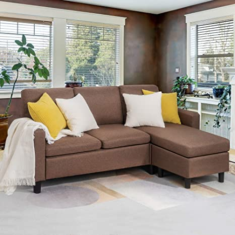 JY QAQA Sectional Sofa Couch Convertible Chaise Lounge, Modern Sofa Set for  Living Room, L-Shaped Couch with Linen Fabric for Small Space, Brown