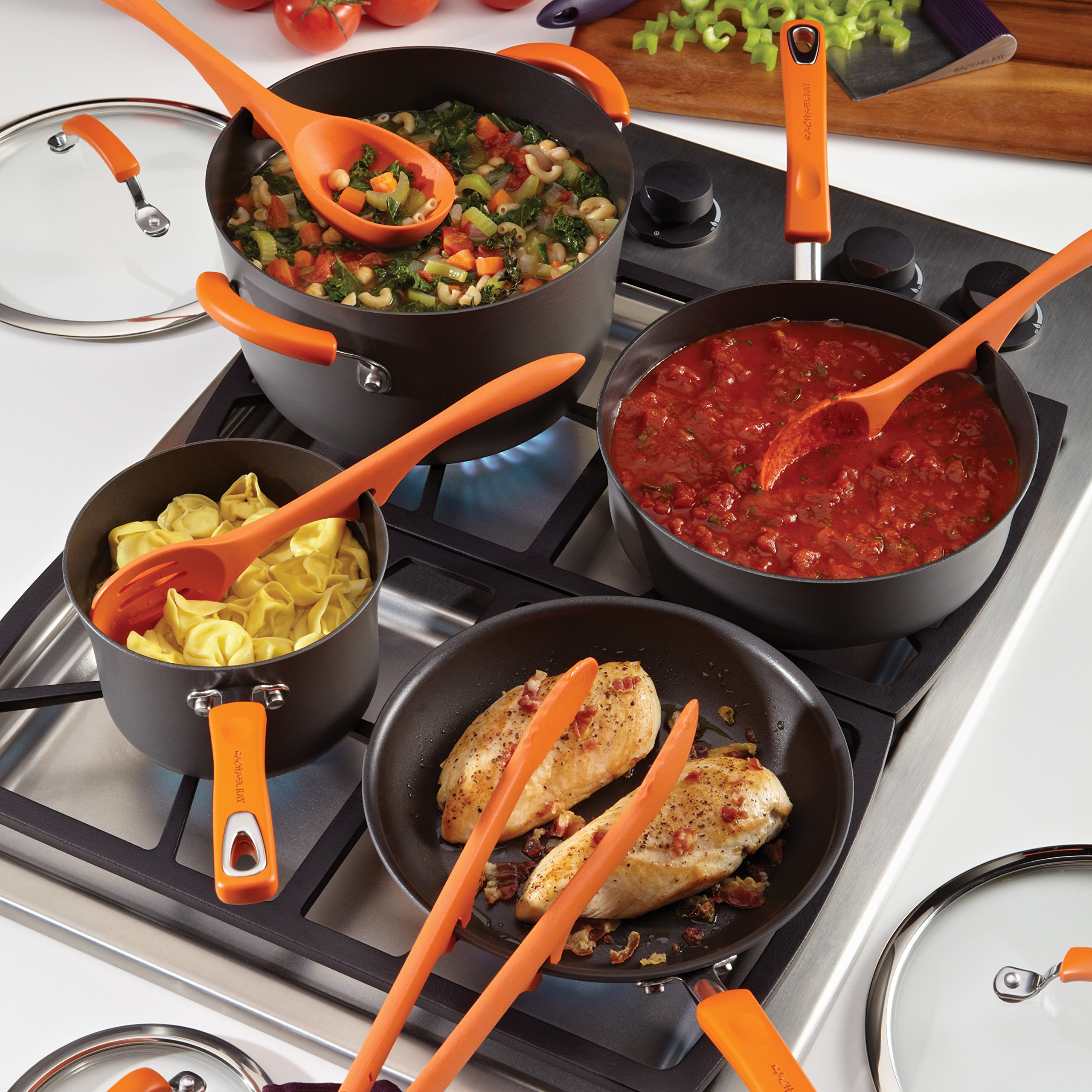 Rachael Ray Tools 2-Piece Lazy Spoon & Lazy Ladle Set, Orange by Rachael Ray (Image #4)
