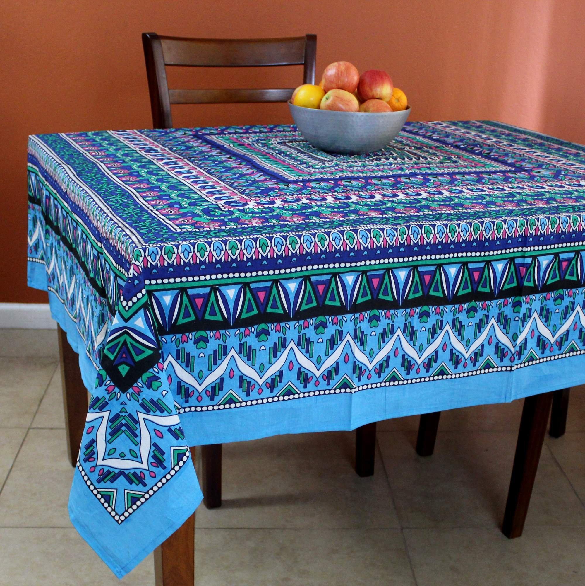 India Arts Handmade Cotton Geometric Mandala Floral Tablecloth Square Beach Sheet Beach Throw (Blue Pink, 70 x 70 inches)