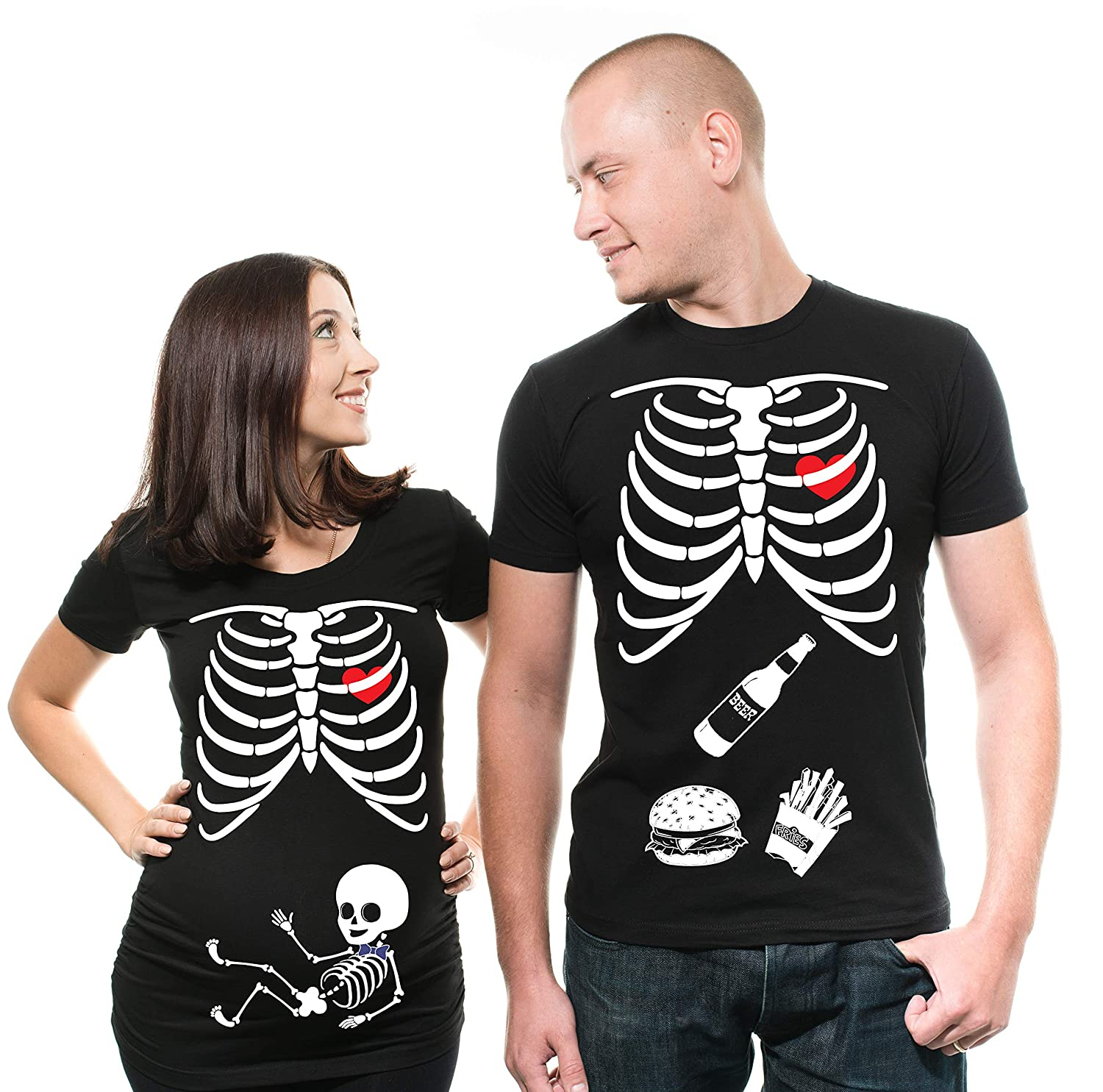 1ad2fde41baac Amazon.com: Skeleton X-ray Maternity Tee Shirt Baby Boy Maternity T-Shirt  Pregnancy Shirt Couple Matching tees Halloween Costume t-Shirts Men XXXL -  Women ...