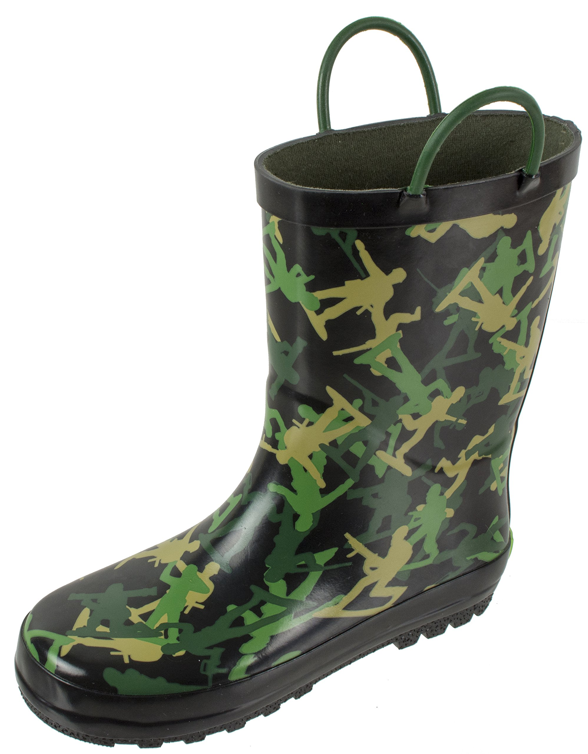 Rainbow Daze Kids Rain Boots Waterproof with Easy-on Handles for Kids, 100% Rubber, Ages 2 to 9, Army Soldier Camo Print, (13/1, Black Camo)
