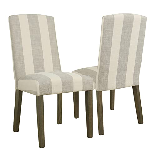 HomePop Parsons Classic Upholstered Accent Dining Chair with Curved Top, Set of 2, Taupe