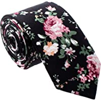 Floral Paisely Ties for Men - Cool Mens Neckties - Floral - Black & Pink