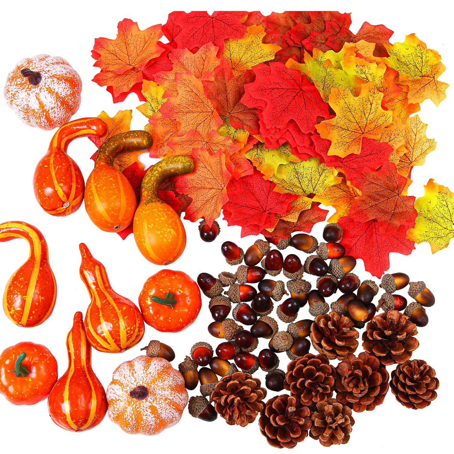 Fall and Thanksgiving Home Table Decoration Wood.L Artificial Maple Leaves Harvest Pumpkins Gourds 166 Pieces Pine Cones and Acorns Set for Autumn