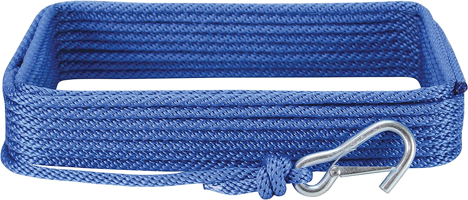 White Extreme Max 3006.2024 BoatTector 3//8 x 50 Premium Solid Braid MFP Anchor Line with Snap Hook