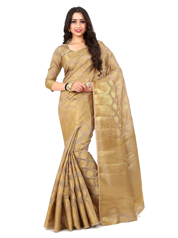 Beige Kanchipuram Art Silk Saree With Running Unstitched Blouse