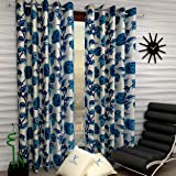 Fashion String 2 Pieces Window Curtain Set, 5 feet Long,Blue