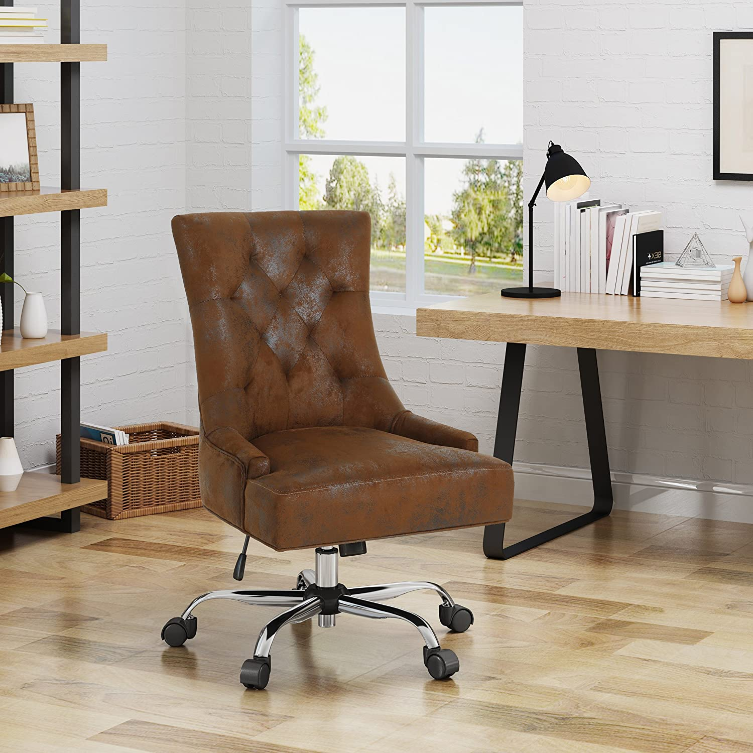 Christopher Knight Home 304966 Bagnold Desk Chair, Brown + Chrome