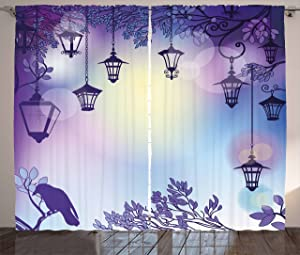 """Ambesonne Lantern Curtains, Street in a Sinister Violet Environment Raven on a Branch Night, Living Room Bedroom Window Drapes 2 Panel Set, 108"""" X 84"""", Violet"""