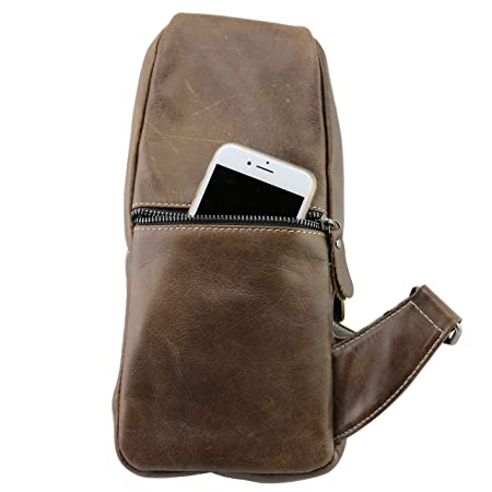 CMXSEVENDAY NOB019 Small Mens Sling Backpack Leather Sling Bag with Multiple Pockets, fit for 7.9 iPad Mini – Brown