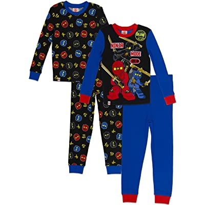 LEGO Ninjago Big Boys' Ninjago 4-Pc Pajama, 2 Sets Sleeve, Long Pant, Blue/Black, 6: Clothing