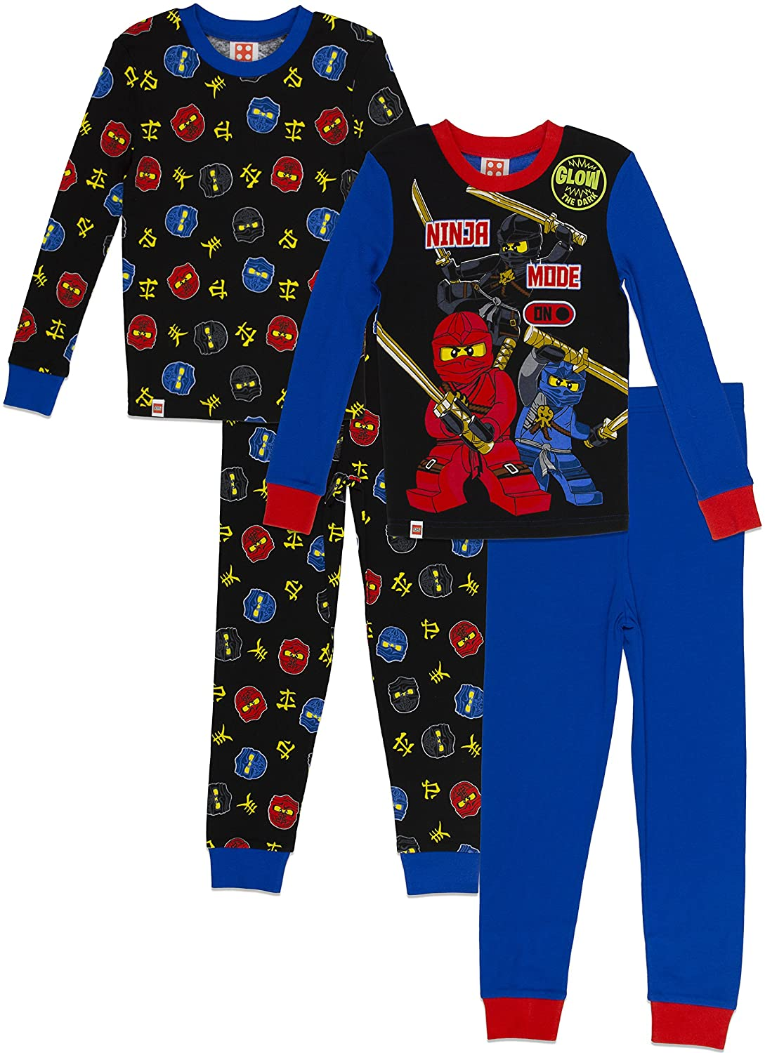 LEGO Ninjago Boys Pajama Set, 4 Piece PJ Set, Long Sleeve, Long Pant,Glow in the Dark