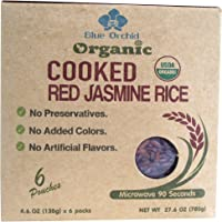 Certified Organic Cooked Thai Red Jasmine Rice - Ready to Eat Microwaveable Pouch Steamed Rice - 6 x 4.6 OZ Pouch (Red Jasmine 6 Pouch)