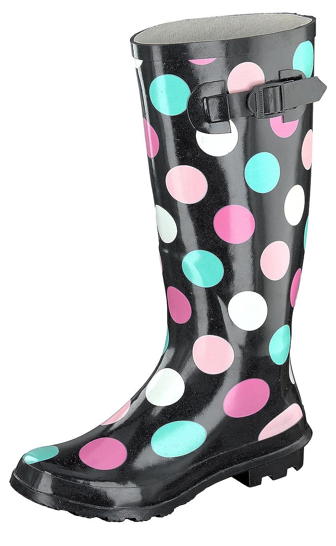 Gosch Shoes Sylt Mujer Caña Larga Botas de Agua 7108-501-9 Negro, Colorido Lunares40 EU|Negro