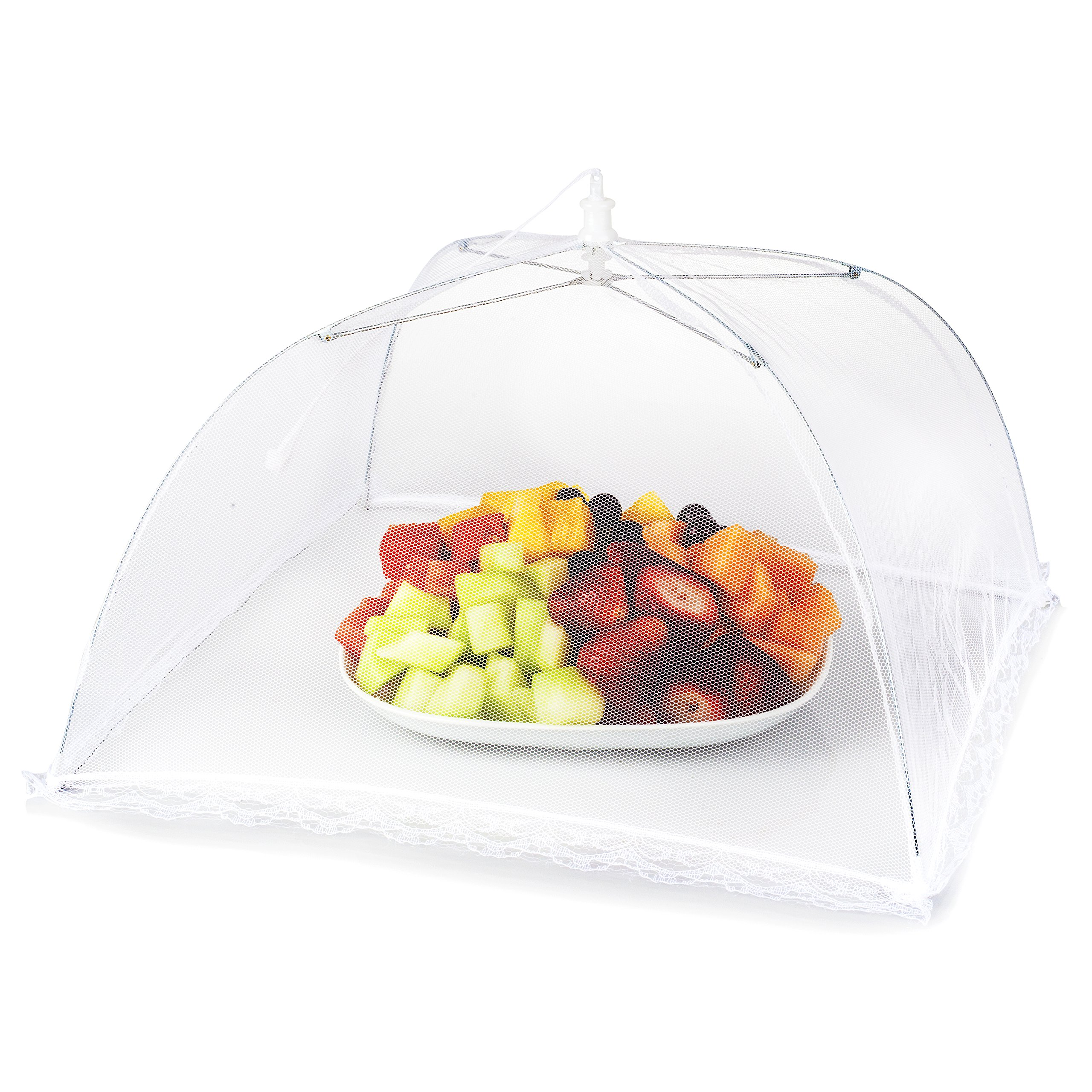 Mesh Picnic Food Tent Covers 6 pack: Collapsible Umbrella Tents for Picnics, BBQ, Camping & Outdoor Cooking; Reusable Pop Up Screen Net & Plate Protector; Shields Food Plates & Glasses From Flies, Bug by Oakmont Trading Store
