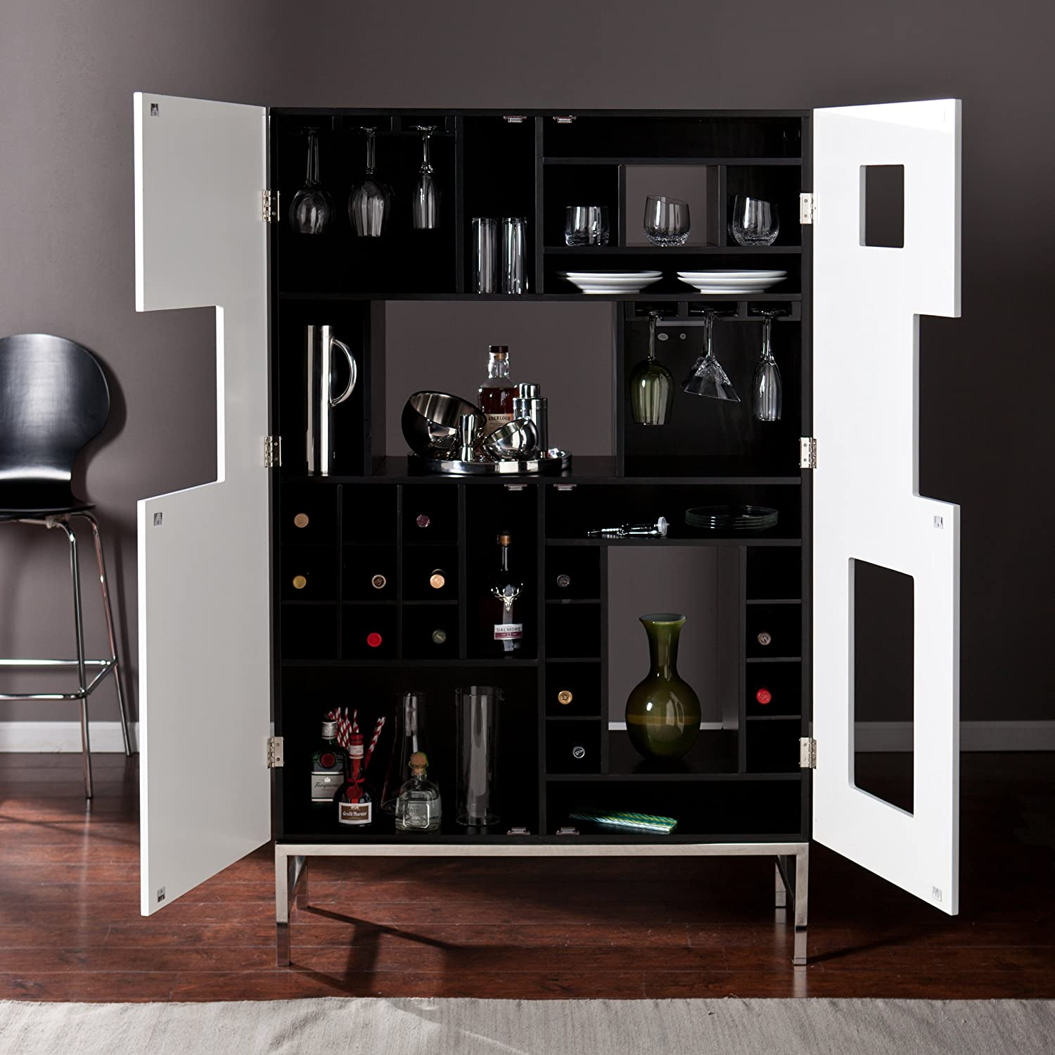 Amazon.com: Southern Enterprises Shadowbox Wine/Bar Cabinet, Black And White  Finish With Stainless Steel Legs