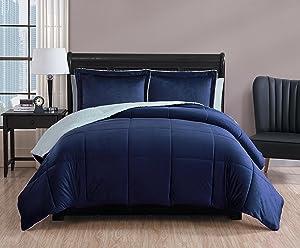 VCNY Home Micro Mink Comforter Set Full/Queen Navy 3 Piece
