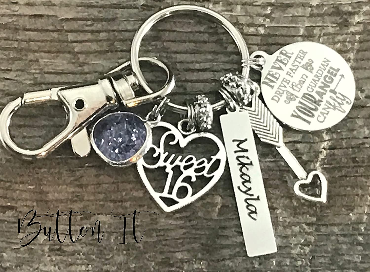 Sweet 16 key chain, Never drive faster than guardian angel can fly, birthday gift, 16th birthday gift for HER, personalized gift, daughter gift, niece gift, granddaughter gift, goddaughter