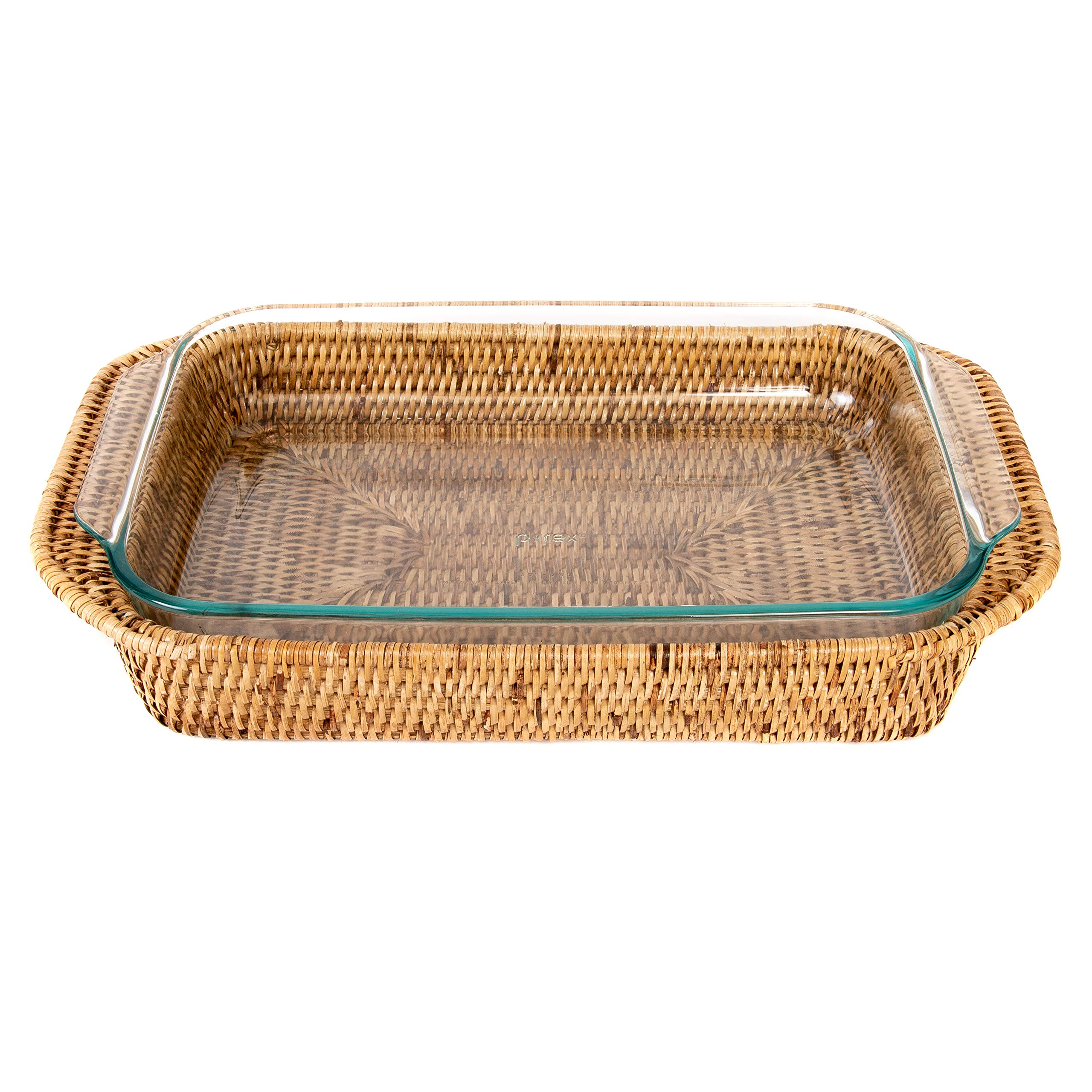 Artifacts Trading Company Rattan Rectangle Baker Basket 13''x9''x2'' with Pyrex Included by Artifacts Trading Company