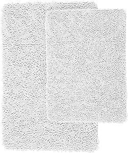 Lavish Home 2 Piece Memory Foam Shag Bath Mat - White