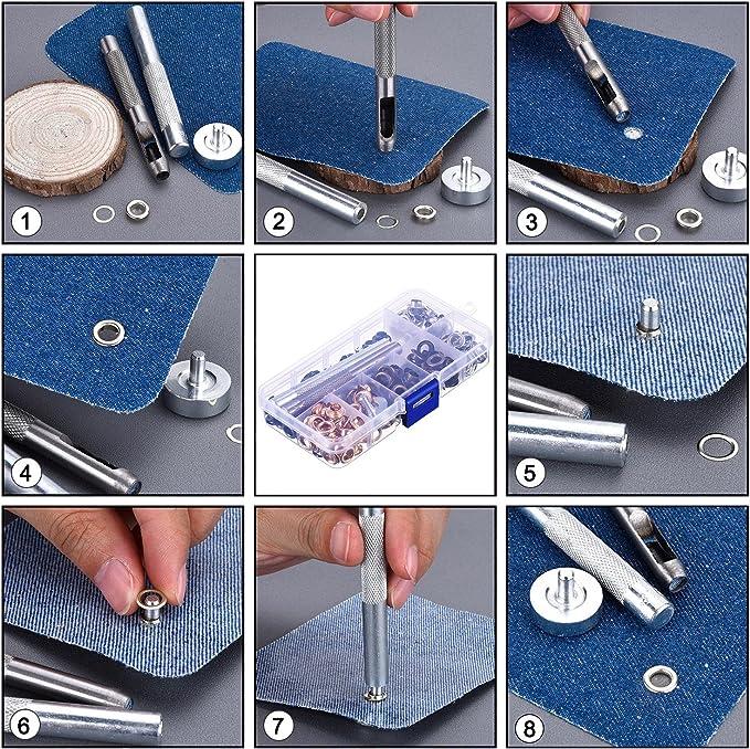 Bememo 1//4 di pollice Grommet Kit 200 Imposta Occhiello occhielli con 3 Pezzi Installare Tool Kit 2 Colori A