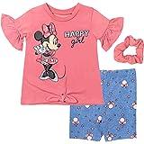 Disney Minnie Mouse 3 Piece Outfit Set: T-Shirt T-ShirtShorts T-ShirtShortsScrunchy