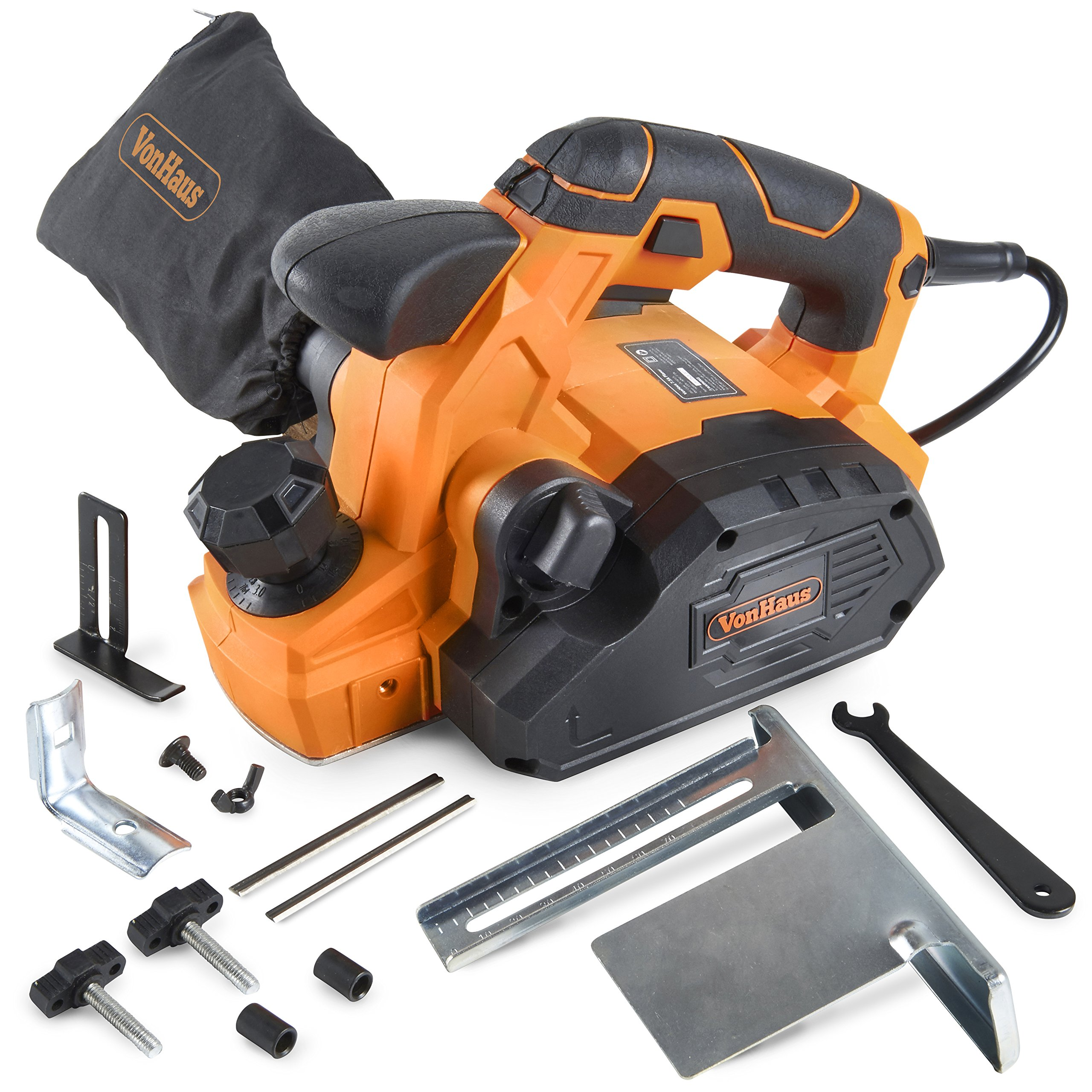 VonHaus 7.5 Amp Electric Wood Hand Planer Kit with 3-1/4'' Planing Width and Extra Set of Planer Replacement Wood Blades