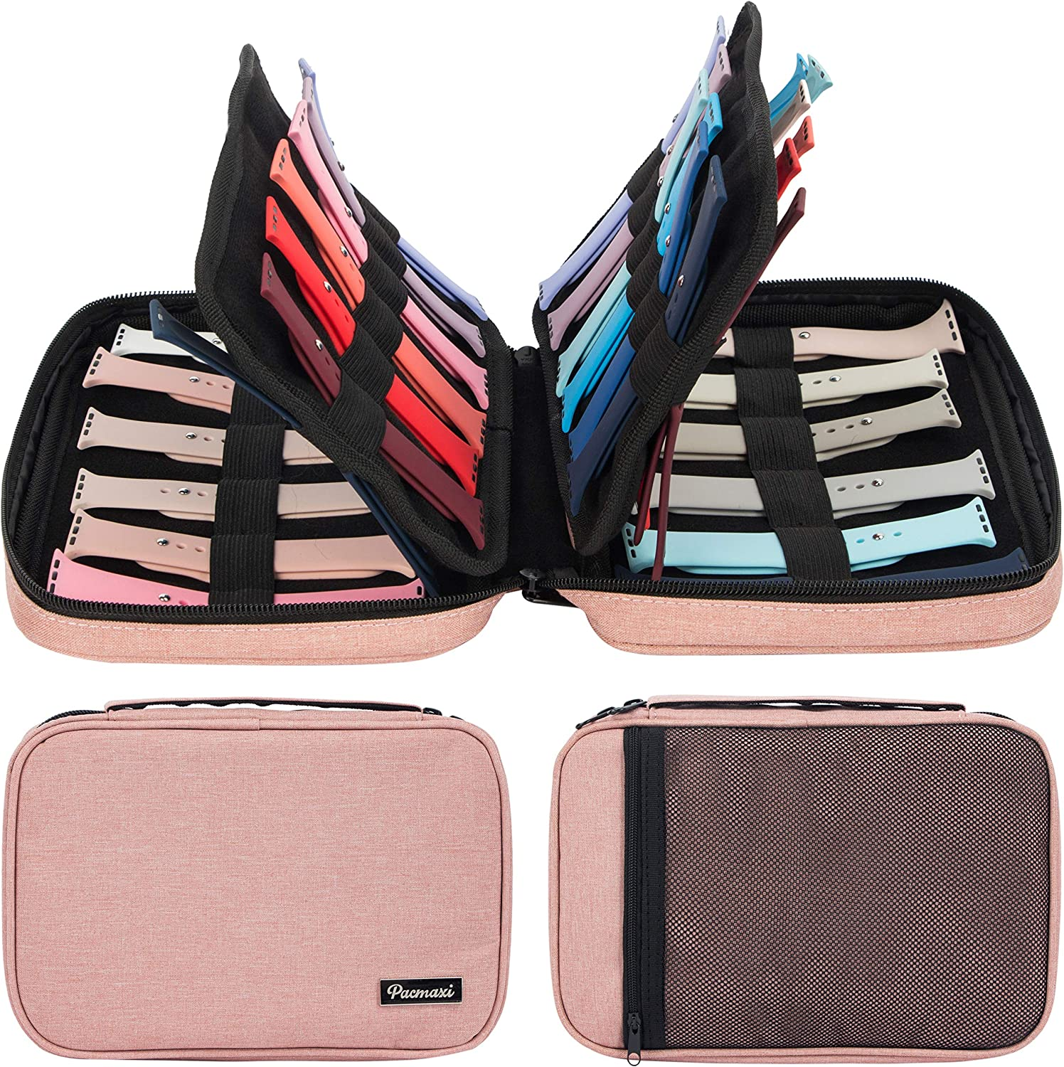 PACMAXI Watch Bands Storage Carrying Case Compatible with Watches, Watch Band Holder Stores 36 Watch Bands Fit for The Most Sizes of Watch Straps, Organizer for Watch Bands Accessories (Pink)