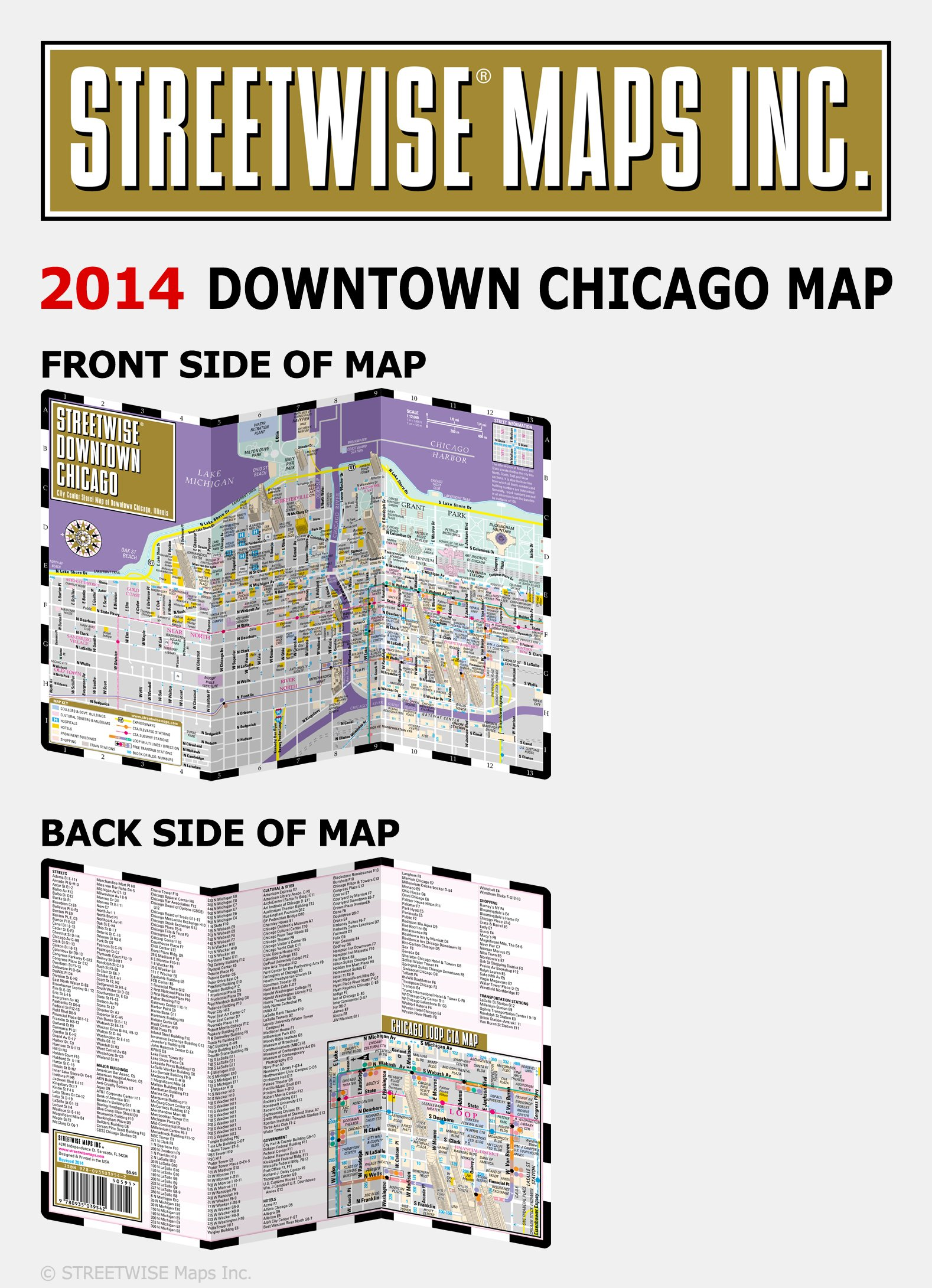 Streetwise Chicago Map.Streetwise Downtown Chicago Map Laminated Street Map Of Downtown