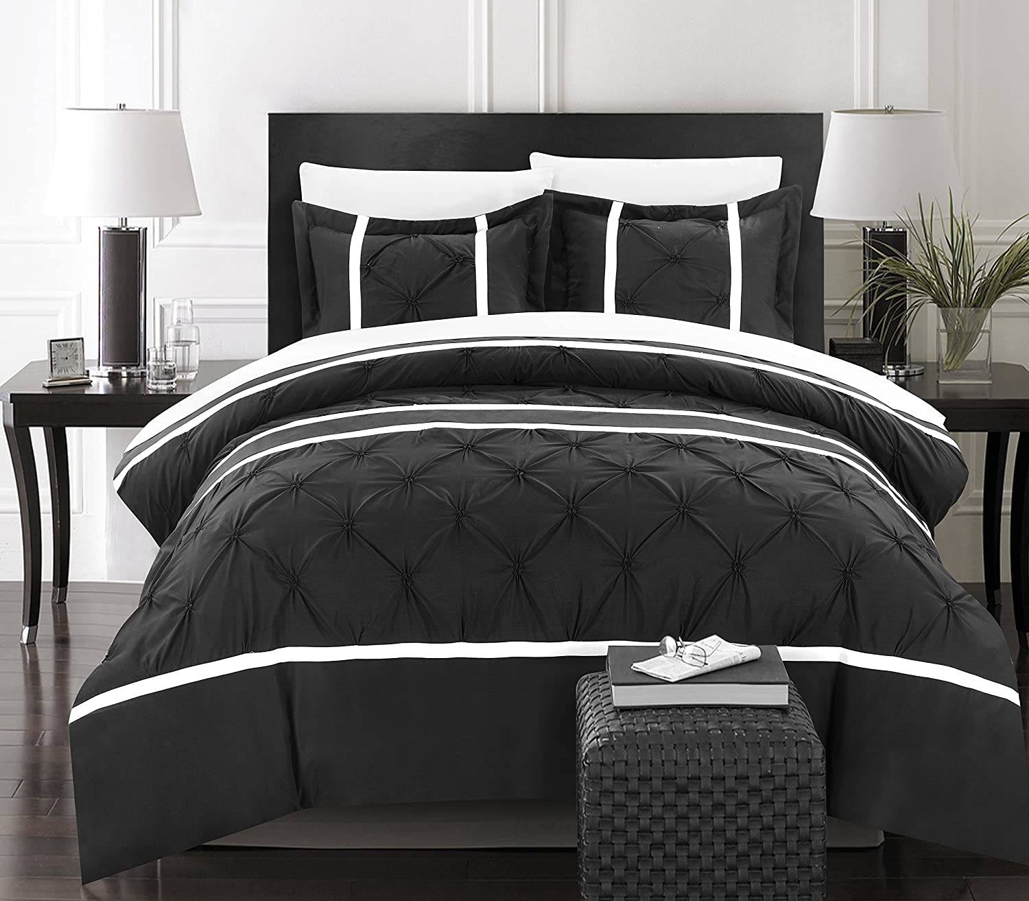 Chic Home 3 Piece Veronica Pinch Pleat Pintuck Duvet Cover Set, King, Black