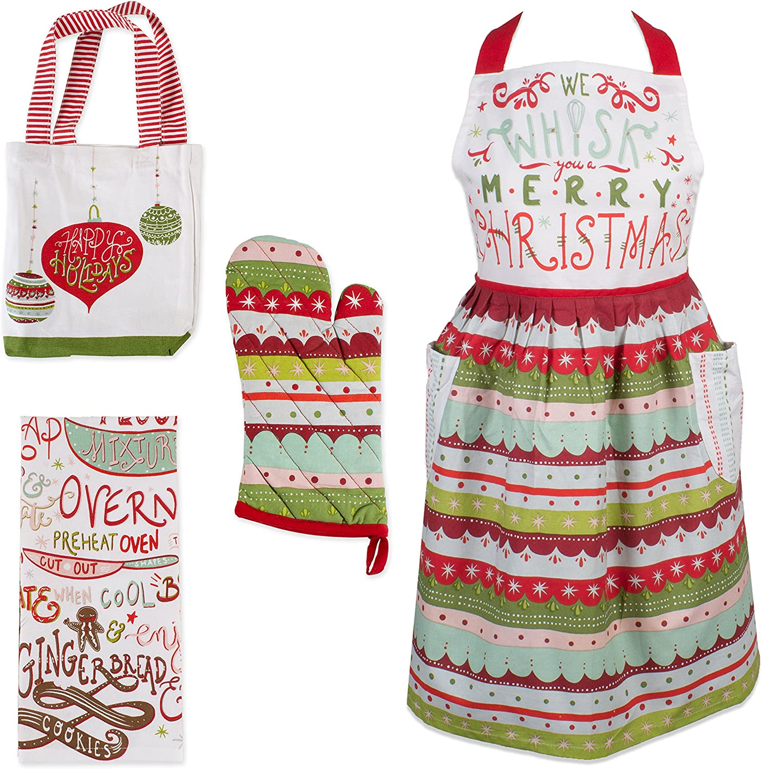 DII, Holiday Baking Set, Apron Dress, Oven Mitt, Dishtowel and Tote, 4 Pieces, Cozy Christmas